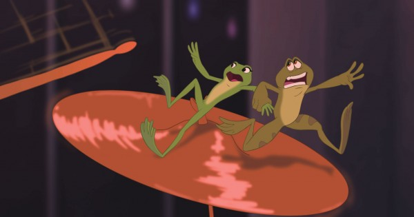 Tiana and Naveen as frogs from the Disney movie Princess and the Frog wallpaper