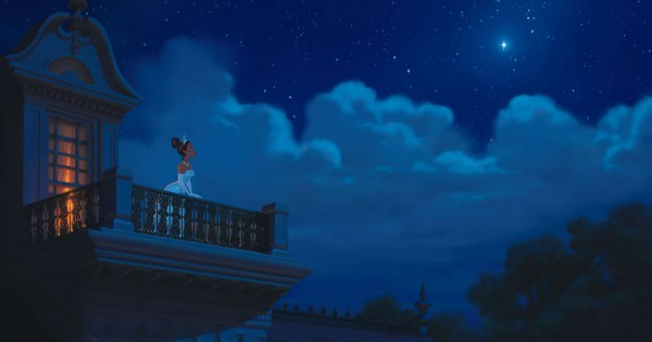 Tiana on the balcony under a night sky from the Disney movie Princess and the Frog wallpaper