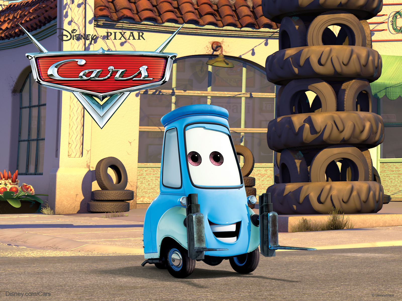 Guido The Fork Lift From Pixar S Cars Movie Desktop Wallpaper