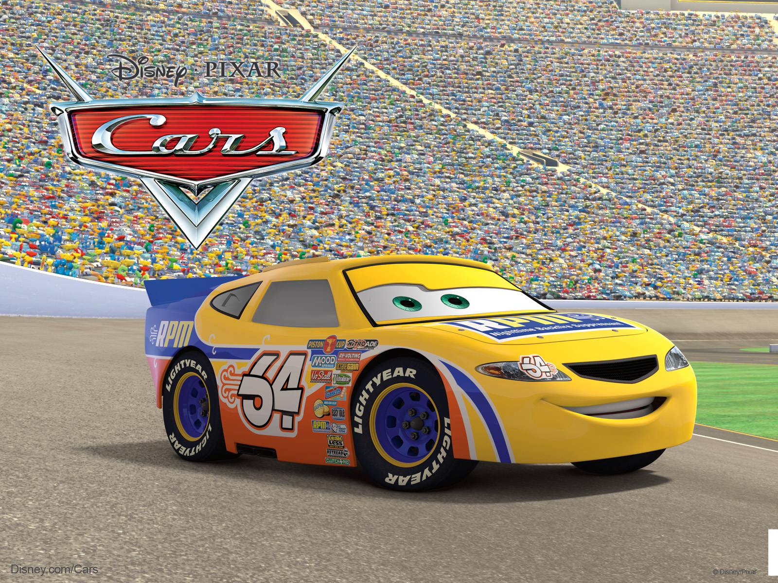 Snot rod the muscle car from pixar's cars movie desktop wallpaper.
