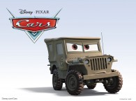 Sarge the army jeep from the Disney/Pixar CG animated movie Cars
