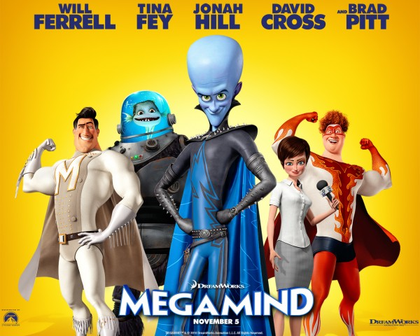 Movie poster with the cast of Megamind the CG animated movie from Dreamworks wallpaper