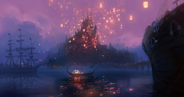 Rapunzel's Kingdom Castle concept art with lanterns from Disney's animated movie Tangled wallpaper picture