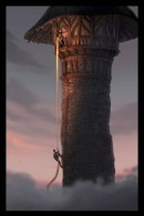 Flynn climbing Rapunzel's tower concept art from Disney's animated movie Tangled wallpaper picture