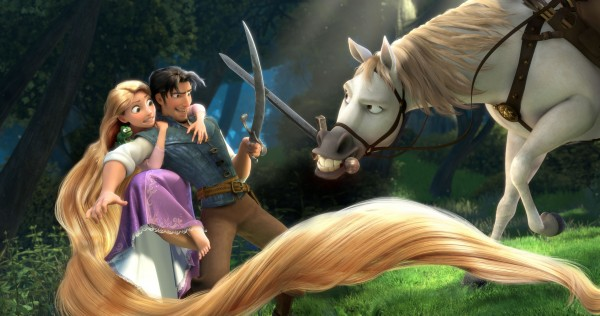 Flynn dueling with swords with Maximus the horse from Disney's CG animated movie Tangled wallpaper
