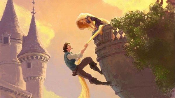 concept art of Flynn and Rapunzel from Disney's movie Tangled