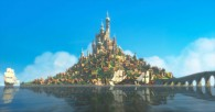 the castle on the island in Rapunzel's kingdom from Disney's animated movie Tangled
