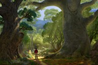 Rapunzel and Flynn in the forest concept art from Disney's animated movie Tangled wallpaper picture