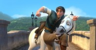 Flynn and Maximus the horse fighting from Disney animated movie Tangled wallpaper