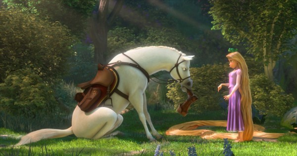 Rapunzel and Maximus the horse from Disney animated movie Tangled wallpaper