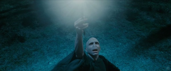 evil Lord Voldemort casting a spell from Harry Potter and the Deathly Hallows wallpaper