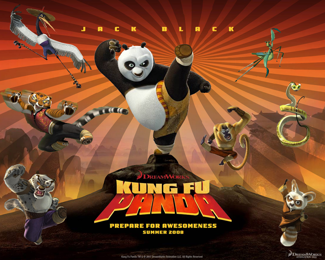 po and cast from kung fu panda movie desktop wallpaper