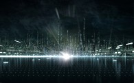 the city in the Tron virtual world from Disney's Tron Legacy movie wallpaper