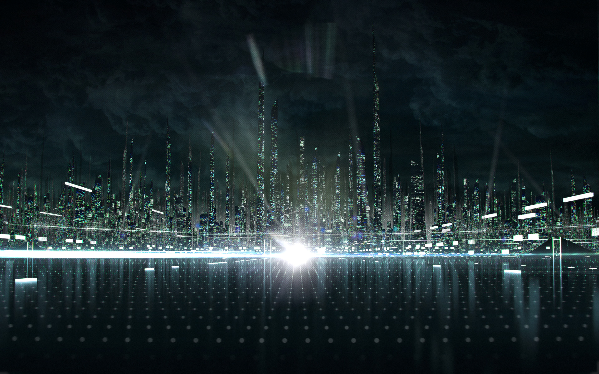 Tron City from Disney   s Tron  Legacy Movie wallpaper - Click picture    Future City Wallpaper 1080p