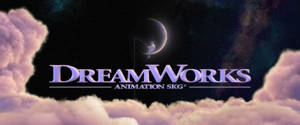 Dreamworks Studio Logo showing crescent moon in a night sky and clouds walllpaper