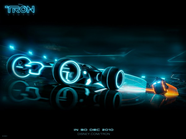 light cycle and car race scene from Disney's Tron Legacy movie wallpaper