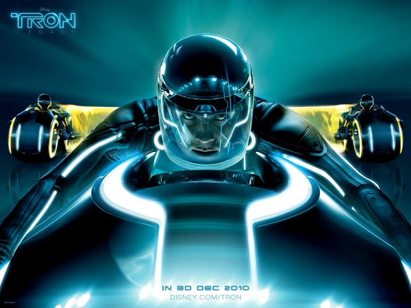 Sam Flynn riding a light cycle from Disney's Tron Legacy movie wallpaper