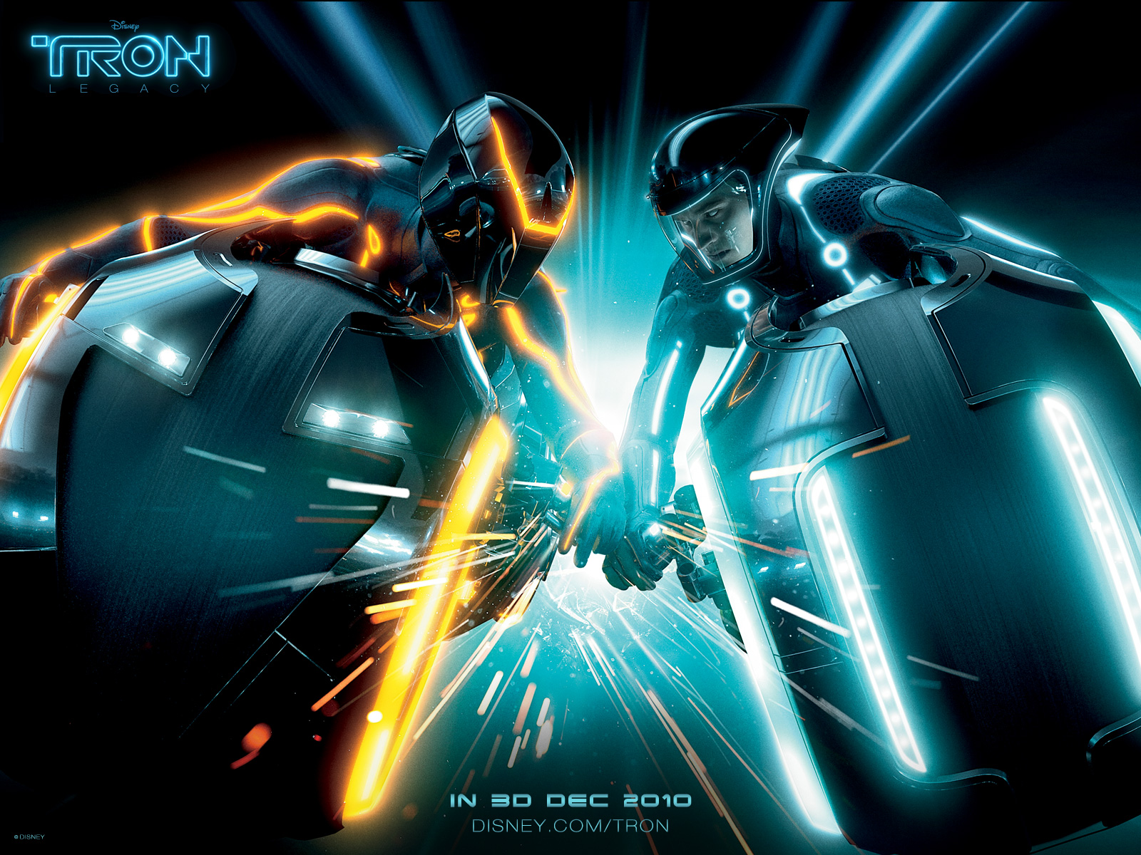 Sam Flynn Crashing Against Another Light Cycle From Disneys Tron Legacy Movie Wallpaper
