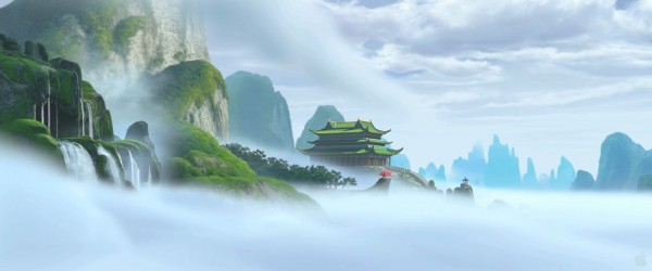 the temple in the mountain tops from Kung Fu Panda movie wallpaper
