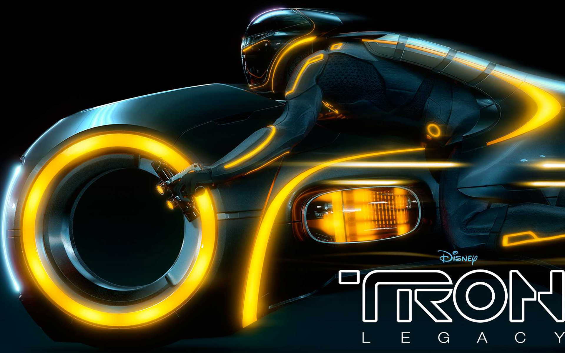 yellow light cycle disney tron: legacy movie desktop wallpaper