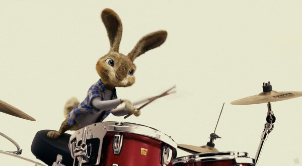 easter bunny (EB) rabbit playing the drums from the movie Hop wallpaper