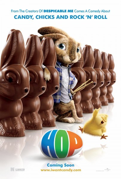 movie poster for Hop showing the Easter Bunny rabbit along with chocolate Easter Bunnies wallpaper