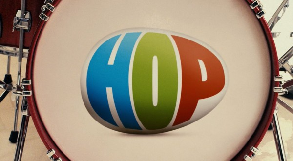logo for the movie Hop on a bass drum wallpaper