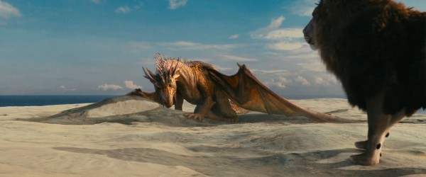the dragon and Aslan the lion from the Chronicles of Narnia Voyage of the Dawn Treader movie wallpaper