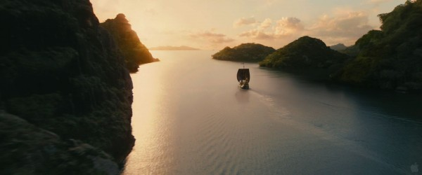 The ship the Dawn Treader sailing in the Chronicles of Narnia Voyage of the Dawn Treader