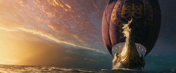 the ship the Dawn Tread sailing at sunset from the Chronicles of Narnia Voyage of the Dawn Treader movie wallpaper