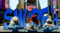 the Smurfs in New York City live action movie wallpaper