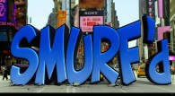 the Smurfs in New York City live action movie wallpaper showing the word Smurf'd