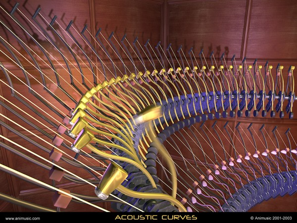 abstract virtual instrument CG rendered from Animusic wallpaper