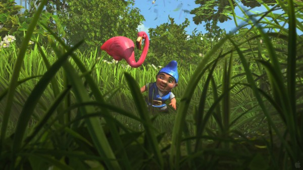 Gnomeo and Featherstone the pink flamingo from Disney's Gnomeo and Juliet movie wallpaper