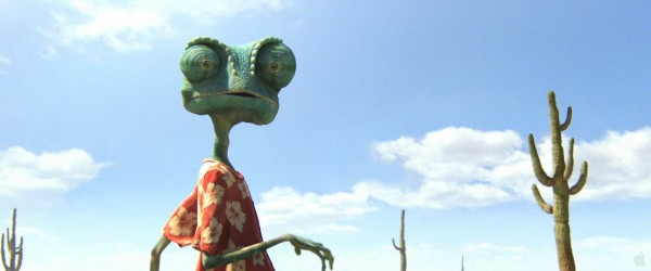 Rango the chameleon in the desert from the movie Rango wallpaper
