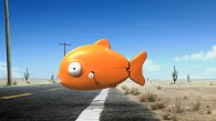 a windup plastic fish crossing the road from the movie Rango wallpaper