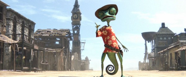 Rango the chameleon as the sheriff from the CG animated movie Rango wallpaper