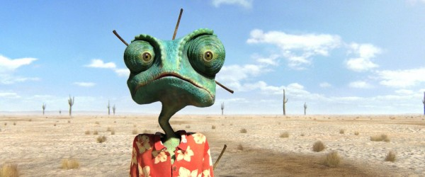Rango the chameleon in the desert from the CG animated movie Rango wallpaper