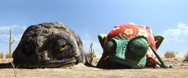 Rango the chameleon with a toad in the desert from the CG animated movie Rango wallpaper