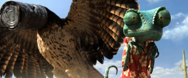 Rango the chameleon being chased by a hawk from the CG animated movie Rango wallpaper