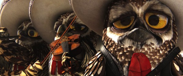 a group of owls dressed as players in a mariachi band from the CG animated movie Rango wallpaper