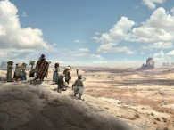 hidden easter egg wallpaper from the Rango movie website showing the cast of good guys overlooking the plains