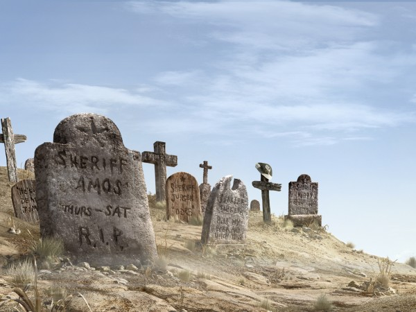 hidden easter egg Rango wallpaper of the cemetery outside of the town of Dirt