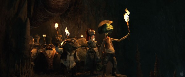 Rango in the cave with the townsfolk from the movie Rango Wallpaper