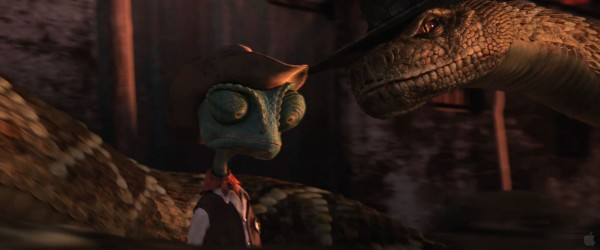 Rattlesnake Jake confronts Rango from the movie Rango Wallpaper