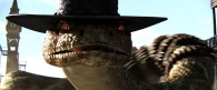 Rattlesnake Jake slithers towards Rango from the movie Rango Wallpaper