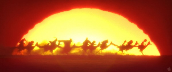 Rango and his friends riding at sunset from the movie Rango Wallpaper