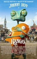 Rango one sheet HD movie poster showing Rango and his fish wallpaper