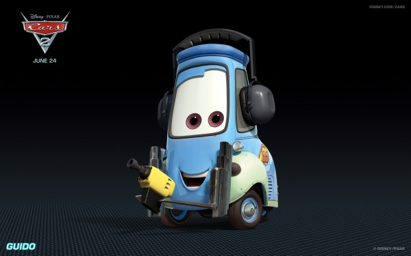 Guido the forklift from Disney's Cars 2 CG animated movie wallpaper