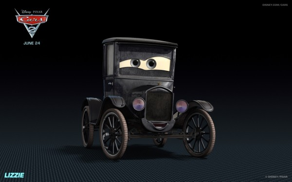 Lizzie the Model T from Disney's Cars 2 CG animated movie wallpaper